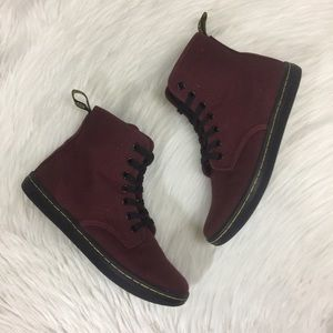 Doc Martens NEW AirWair Maroon Canvas Boots Size 7